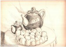 Two teapots and peaches. 1979 realism Graphite pencil Russian vintage art USSR