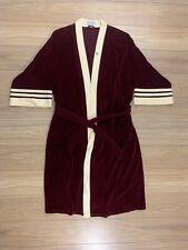 Vintage Christian Dior Robe de Chambre Burgundy Cream Stripe - One Size Euc