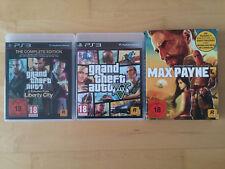 PS3 Rockstar Games Paket: GTA V, GTA IV (mit DLC), MAX PAYNE 3. Inkl. Karten
