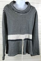 Orvis Womens Gray Striped Pullover Sweater Size Large Drawstring Waist EUC A0708
