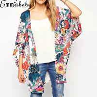 Women Vintage Floral Beach Shawl Kimono Cardigan Boho Chiffon Tops Jacket Blouse
