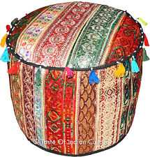 """20"""" Round Ottoman~Pouf~Stool~Chair Embroidered Pouffe Cover INDIA Bohemian Decor"""