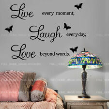 LIVE LAUGH LOVE Wall Quote Butterfly Stickers Home Art Decal Vinyl Removable