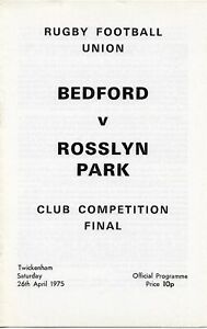 BEDFORD v ROSSLYN PARK RUGBY UNION JOHN PLAYER CUP FINAL PROGRAMME 26 APRIL 1975