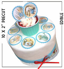 """10 Peter Rabbit Edible Pre Cut 2""""  Cupcake Toppers   Cake   decorations Birthday"""