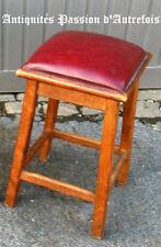 M20151102 - Tabouret en hêtre avec assise en skaï - Très bon état