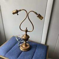 Vintage Brass Table Lamp 2 Arm Weighted Base Art Nouveau
