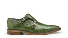 New Men's Belvedere Oscar Pistachio Green Genuine Alligator Double Buckle Shoes