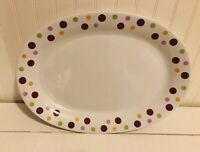 Pampered Chef Simple Additions Dots White Oval Appetizer Serving Plate Platter