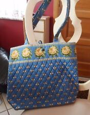 Vera Bradley button tote in retired BLue Bees pattern