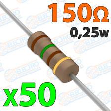 50x Resistencias 150 OHM 5% 1/4w 0,25w carbon film pelicula