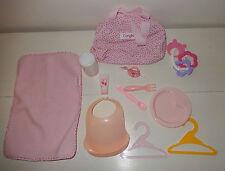 Lot d'accessoires + sac pour poupon poupée COROLLE