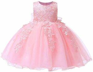 LZH Baby Girls Birthday Christening Dress Baptism, Light Pink, Size 18 Months