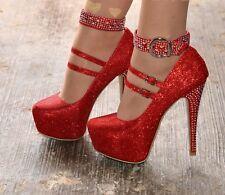 Ladies Club High Platform Heels Diamante Stiletto Shoes Evening Party size 3-9