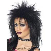 W286 Black Rock Diva Wig Ladies 80s Tina Turner 1980s Punk Disco Diva