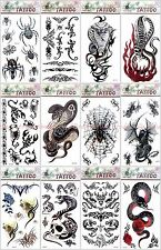 Us Seller-12 sheets party favour Halloween snake scorpio spider temporary tattoo