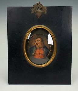 ANTIQUE 18th C FOLK-ART MINIATURE PORTRAIT PAINTING CAPT FAT FRANK FRANCIS GROSE