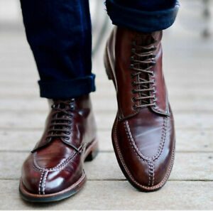 Handmade Mens Maroon color leather dress boots, Men ankle boots, Casual boots