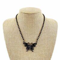Vtg Black Rhinestone Beaded Delicate Dainty Butterfly Drop Pendant Necklace