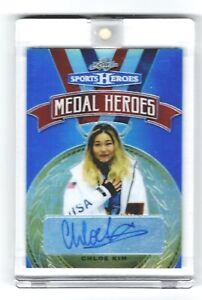 2018 Leaf Sports Heroes Chloe Kim Medal Heroes Blue 7/15 Autograph