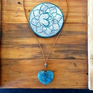 Ocean Blue Lace Agate Heart Necklace Leather Suede by GypsyLee Jewels
