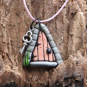 Hand made pink fairy door pendant with tiny key on pink cord #fh5