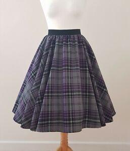 1950s Circle Skirt Purple Grey Tartan Check All Sizes - Rockabilly Black Plaid
