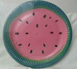 """Watermelon Paper Party, BBQ, Buffet Plates 9"""" - x8 per pack  - Brand New"""