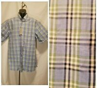 DANIEL CREMIEUX Men's Large Pocket Button Down Blue Plaid Short Sleeve Shirt $79