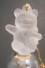 Danbury Mint Gold On Crystal Christmas Bell Teddy Bear Present Ornament Glass