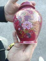 Vintage ARTMARK Japanese Ginger Jar Burgundy & Gold PEACOCK Urn & Lid 7/5❤️ts8j
