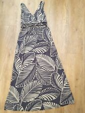 BODEN Grey Leaf Botanical Fixed Wrap Jersey Maxi Long Dress UK 8R US 4R, VGC