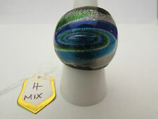 A SILVER,BLUE & GREEN HELIX MURANO STYLE GLASS RING. UK SIZE O...US 7   (4)