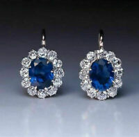Blue Oval Cut Sapphire White Round Dangle Wedding Earrings 925 Sterling Silver