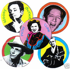 5 COUNTRY  BADGES. HANK WILLIAMS, WOODY GUTHRIE, PATSY CLINE, JOHNNY CASH.