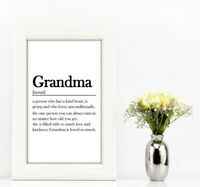 Grandma dictionary definition meaning a4 print quote home decor birthday gift