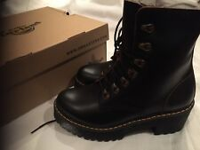 Dr Martens Leona Lace Up Hiking Boot. Black, Vintage Smooth Leather.Size 5 (38)