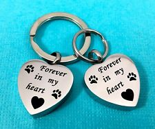 """Keyring Urn .5"""" Key Chain Pet Cremation Pendant For Ash Dog Cat Paw Print Heart"""