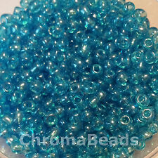 50g glass seed beads - Turquoise Transparent Lustered - approx 4mm (size 6/0)