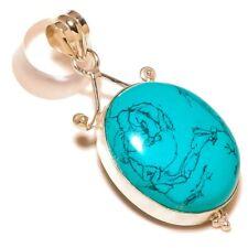 Green Turquoise Oval Gemstone silver plated Handmade Bezel Set Boho Pendant