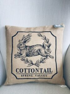 """Decorative Cotton Tail Spring Valley Bunny Rabbit pillow Jute in outdoor 16"""" new"""