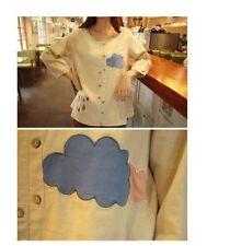 Brand New Korean Style Cartoon Rain Clouds Rainbow Blouse Shirt Top XS