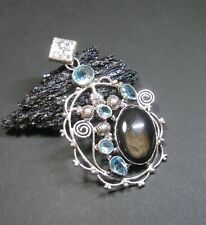 Natural, Silver Sheen Obsidian & Blue Topaz Gemstone Pendant - 925 silver plated