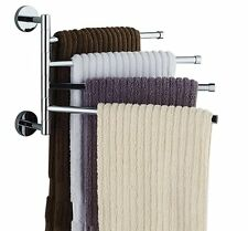 Wall-Mounted Stainless Steel Swing Bathroom Towel Rack Hanger Holder Organizer