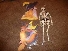 3-Vintage Halloween Die Cut Paper Decoration Kirk Skeleton Witch Broom Cat