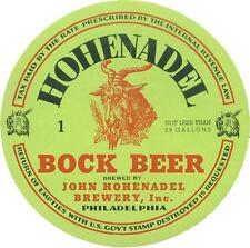 HOHENADEL BREWING BOCK BEER LABEL T SHIRT PHILA PA SMALL-XXXLARGE (F)
