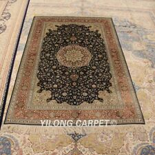 Yilong 4'x6' Floral Medallion Silk Hand Knotted Carpets Office Handmade Rug 865B