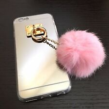 For iPhone 6 / 6S - TPU Rubber Silicone Luxury Mirror Case Cover w Fur Dust Plug