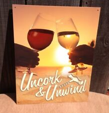 Uncork Unwind Wine Glass Toast Sign Tin Vintage Garage Bar Decor Old