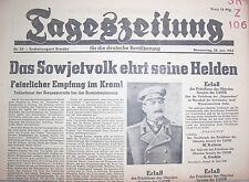 Original Zeitung 28.6.1945 Tageszeitung f. d. deutsche Bevölkerung Sowjet Helden